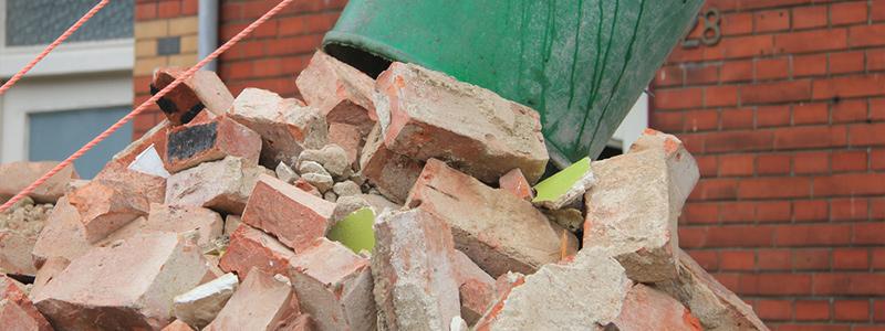 building debris in a skip