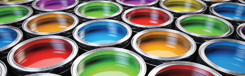 colourful paint cans